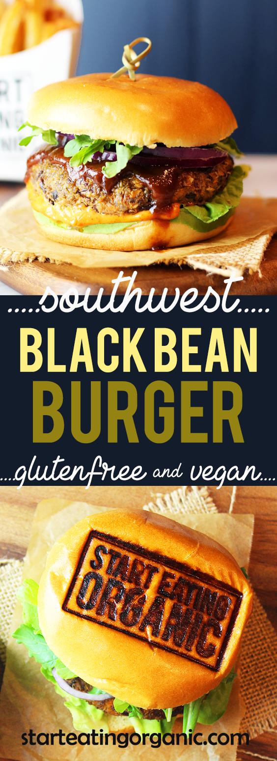 The best vegan gluten free Southwest Bean Burger. | www.starteatingorganic.com | #vegan #glutenfree #recipe #bean #beanburger